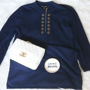 Small Navy Blue High Neck Gold Circle Hardware Top